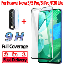 2 in 1 Screen Protector for Huawei Nova 5 i Pro Tempered Glass 5i P30 Lite Camera Lens Protective