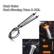 1Pair Dual Color Universal Motorcycle Fork Turn Flowing Sequential Signals + DRL Amber White LED Strips Waterproof