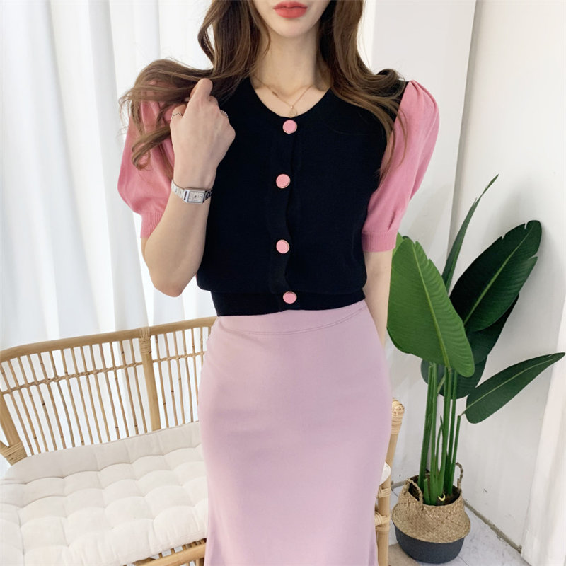 Alien Kitty Casual Elegant Girls Short Sleeves Color-Hit 2020 High Street Office Lady Cardigans Cute Knitted Sweet Tops Sweater