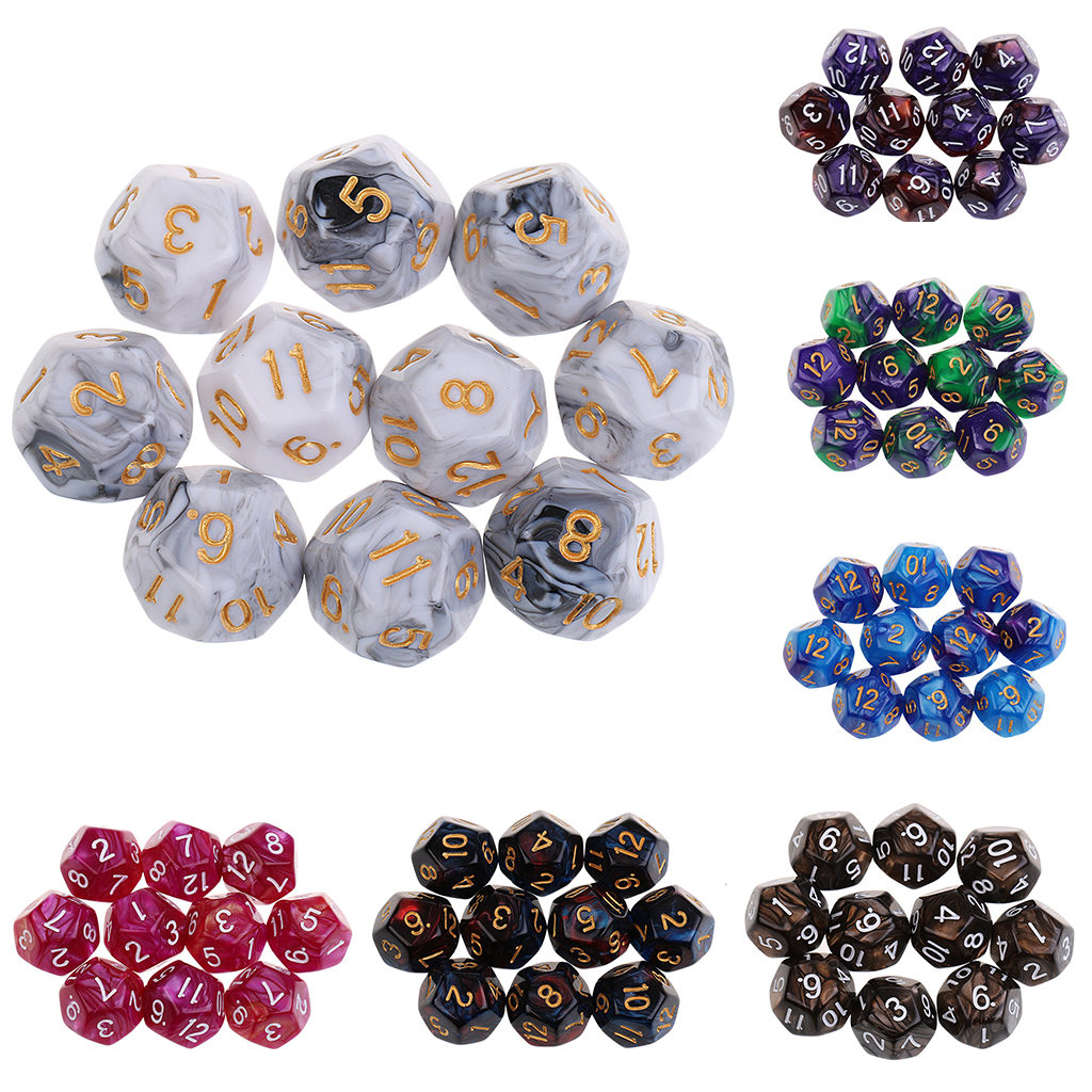 10pieces 12 Sided Dice Set D12 Polyhedral Dice For Dungeons And Dragons Party Table Games