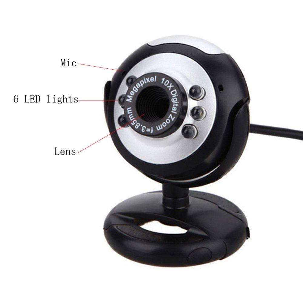 800x600 1.3MP USB+3.5MM Web Camera 6 LED Night Light Buit-in Mic Clip Cam Webcam For PC Desktop Laptop Computer
