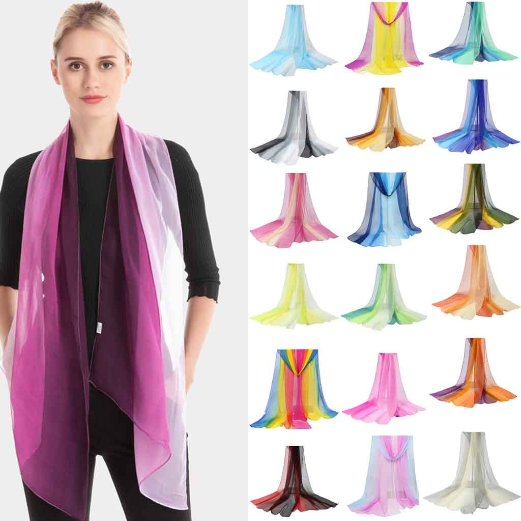 Are You Sure Not To Click In And See? Ladies Gradient Scarf Light Shawl Georgette Thin Beach Scarf Fashion Silk Scarf Purchasing