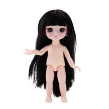 17 cm nude baby with white skin 13 joints 8 points doll 3D real eye BJD change makeup dream doll(China)