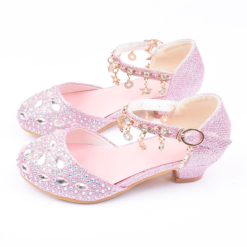 New 2020 Fashion Children's High Heels Student Crystal Girls Leather Shoes Sequins Princess Dance Shoes Buckle Strap Breathable