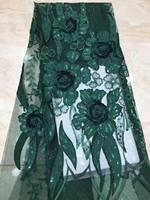 French lace fabric 5yds/pce green sequins 3D petals embroidery mesh fabrics women luxury lagos party asoebi swiss bright dress