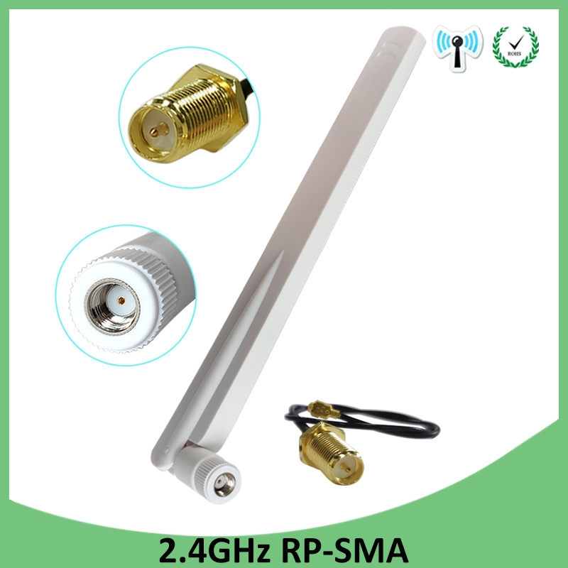 10pcs 2.4GHz Antenna Wifi 8dBi RP-SMA Male Connector Wi Fi 2.4 Ghz Antena White Antenne+SMA Male To Ufl./ IPX 1.13 Pigtail Cable