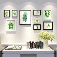 Green Plant Round Picture Frame Pastoral Combination Wall Photo Frame Wedding Photo Study Mural Decorative Framework Wall Painti