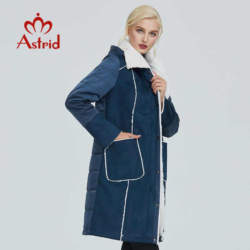 2019 Astrid 새로운 겨울 자 켓 여성 플러스 크기 자 켓 파 카 솔리드 가죽 의류 여성 겨울 코트 AM-2082