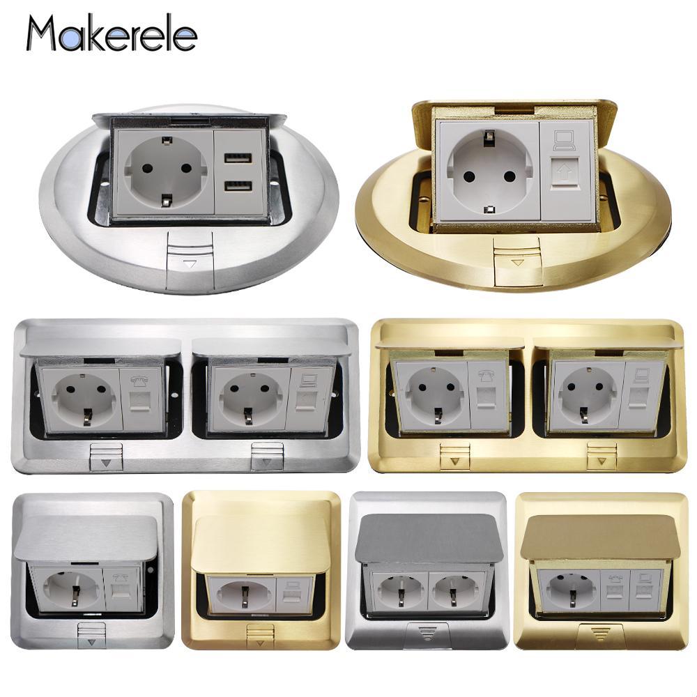 16A Aluminum Cropper Panel Pop Up Floor Socket 2 Way EU Standard Power Double Outlet With 2.1A USB Phone Port/RJ45 Internet Jack