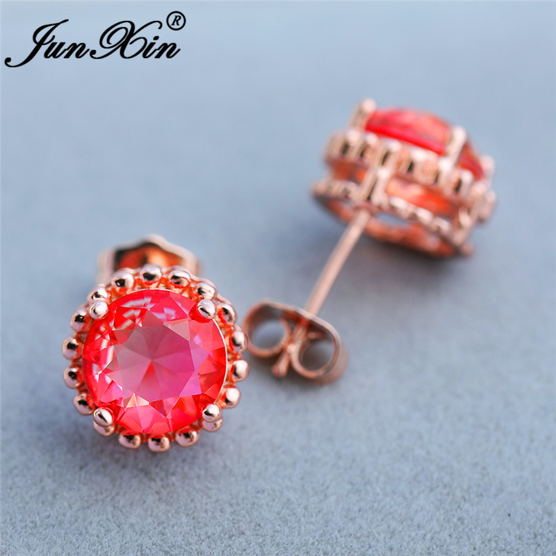 Girls Cute Pink Yellow Zircon Round Stud Earrings Rose/White Gold Colorful Rainbow Fire Crystal Wedding Earrings For Women Boho