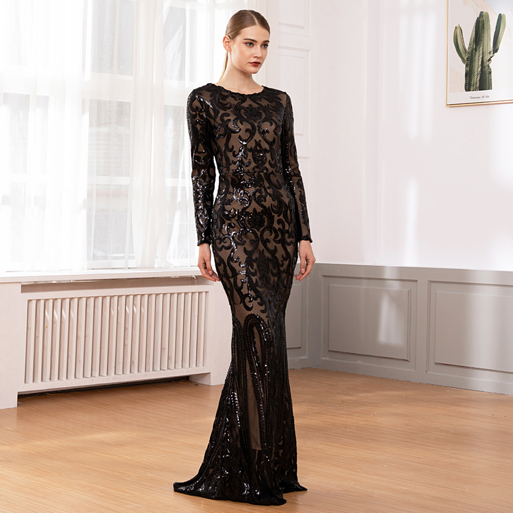 Elegant Vestido Full Sleeved Maxi Dress Black Sequined Party Dress Stretch Floor Length Bodycon Maxi Dress
