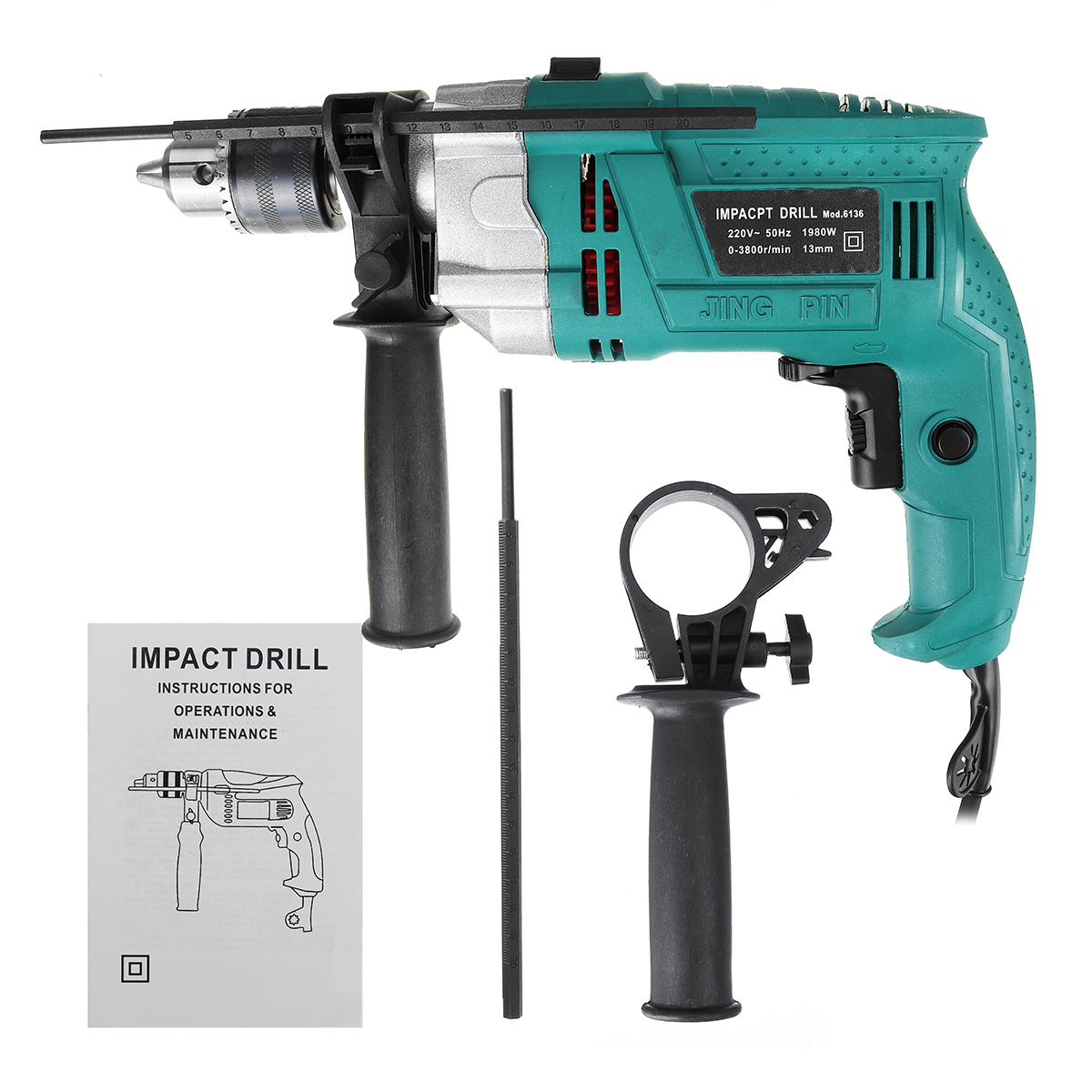 Bar 1980W Handheld Scale Drill Kit Drillpro Handle 3800rpm Impact Electric Multifunction Flat  Wrench Hammer 220V Drill  Rotary