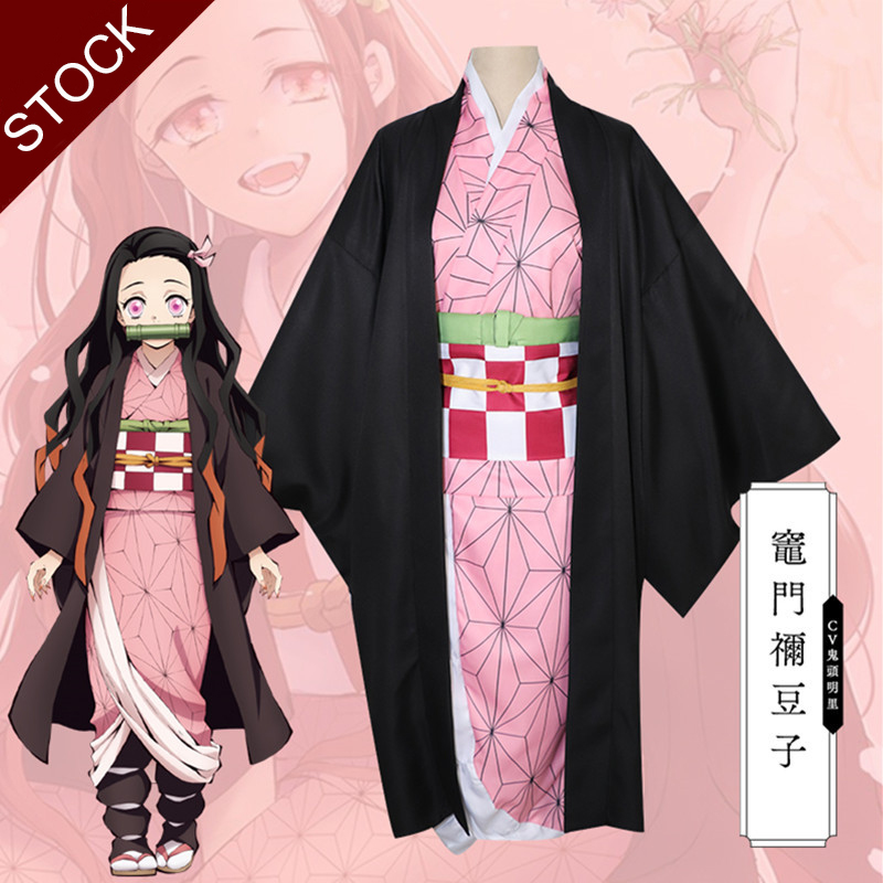 Anime Demon Slayer Kamado Nezuko Cosplay Costume Kimetsu No Yaiba Women Uniform Pink Kimono Full Set Halloween Costumes
