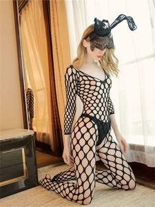 Fishnet Women Lingerie Underwear Babydoll-Costumes Tights Open-Crotch Sexy Erotic Adult