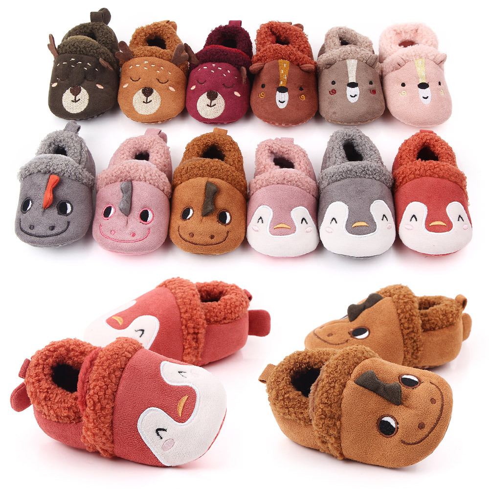 DOGEEK Baby Shoes Adorable Infant Slippers Toddler Baby Boy Girl Knit Crib Shoes Cute Cartoon Anti-slip Prewalker Baby Slippers
