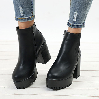10CM High Heels Platform Boots Women Desginer Shoes Woman Block Heels New Plataforma Womens Boots Leather Round Toe Ankle Boots women ankle leather boots split toe round heels splited toe lady shoes woman high heels female boots ninja tabi boots