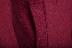 Image 5 - Helisopus mężczyźni długi płaszcz moda kurtka z wełny 2020 wiosna jesień stanąć kołnierz mieszanki wełny czarny płaszcz
