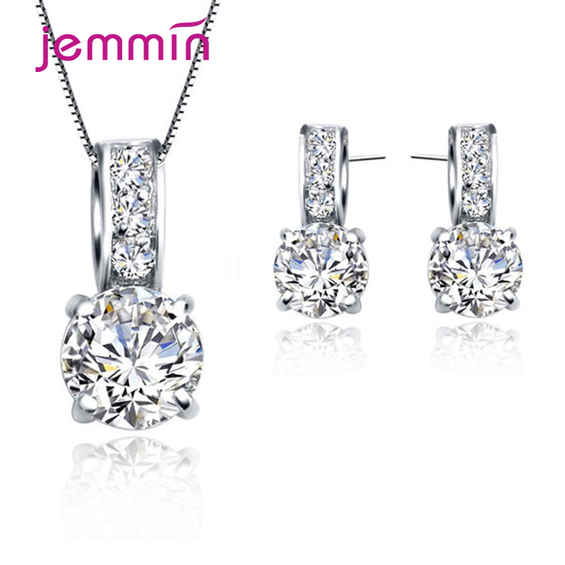 925 Silver Jewelry Set for Women 100% 925 Sterling Silver CZ Hoop Earrings Necklace Set Fashion Wedding Party Jewelry Gift