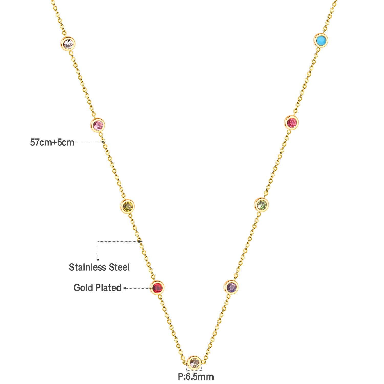 Luxukisskids Tondo Zircone Pendenti con Gemme E Perle Collane di Colore Oro in Acciaio Inox Lungo 57 Centimetri + 5 Centimetri di Collegamento Catene Collane di Costume Accessori