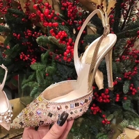 New Spring Women Pumps High Thin Heels Pointed Toe Crystal Beaded Sexy Bling Bridal Wedding Women Shoes Slingback High Heels