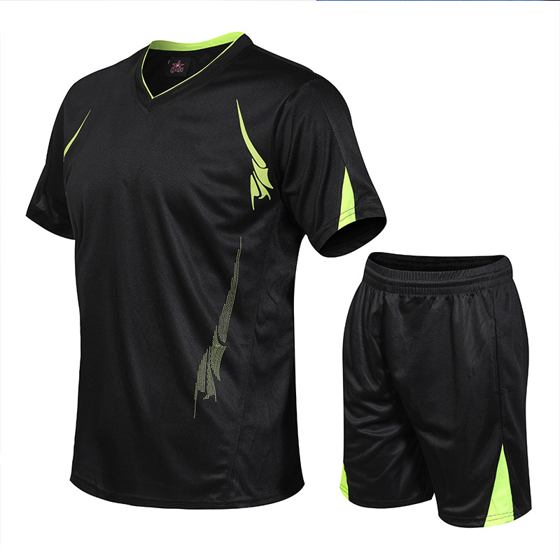 Sports Set 2019 New Style Summer MEN'S Short Sleeve Shirt Large Size Outdoor Running Sports T-shirt Suit