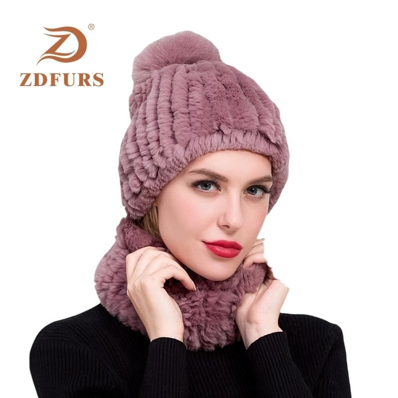 ZDFURS*Winter 100% Real Rex Rabbit Fur Women Hat Scarf Sets Comfortable Warm Vintage Fur Casual Female Ladies Caps Scarves New
