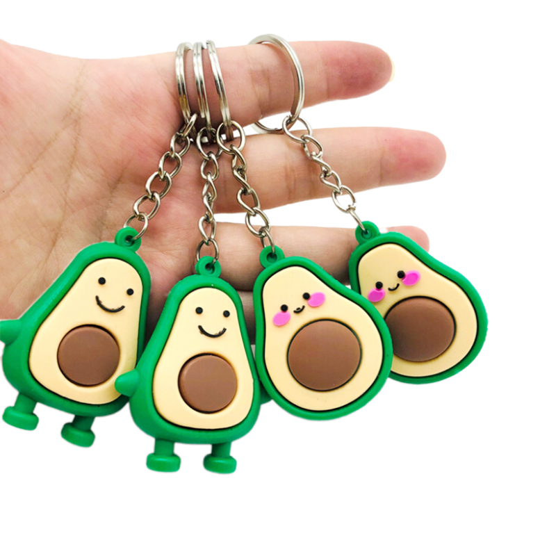 Fashion Simulation Fruit Avocado Smile-shaped Keychain 3D Soft Resin Avocado Key Chains Jewelry Fashion Wedding Party Gift