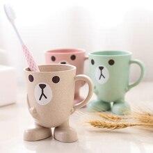 Creativo de paja de trigo de dibujos animados de animales taza del cepillo de dientes vaso para cuarto de baño enjuague bucal viajes titular de cepillo de dientes de Casa accesorios de baño