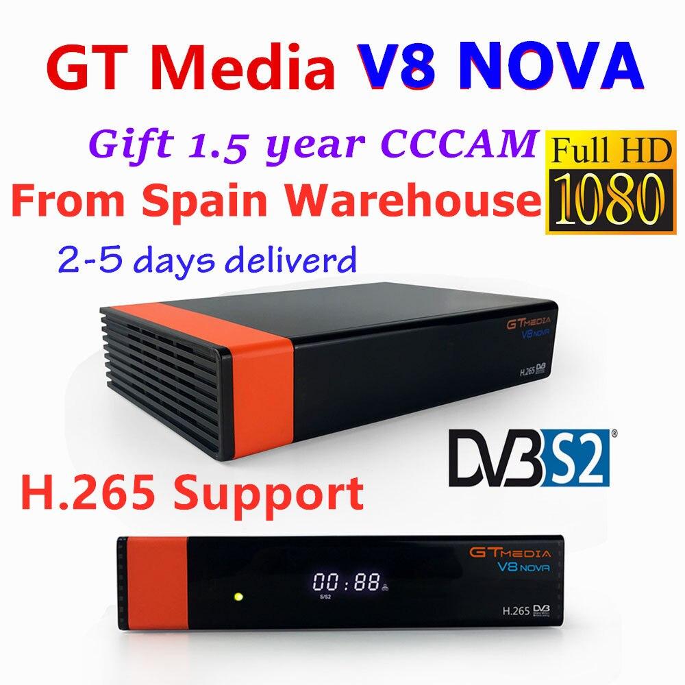 GT mídia V8 NOVA receptor de satélite Full HD suporte decoder + 1.5 Ano cccam 4k clines H.265 DVB-S2 Powervu espanha Alemanha Polónia