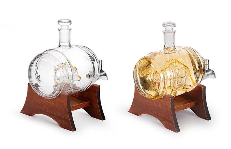 1000ml Barrel Whiskey Decanter Nautical Liquor Dispenser Lead Free Decanter for Scotch Bourbon Cognac Rum Brandy Nautical Decor