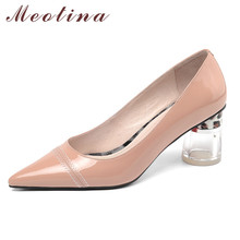 Купить с кэшбэком Meotina Women Shoes High Heels Genuine Leather Transparent Round High Heel Shoes Cow Leather Pointed Toe Office Lady Pumps 34-41