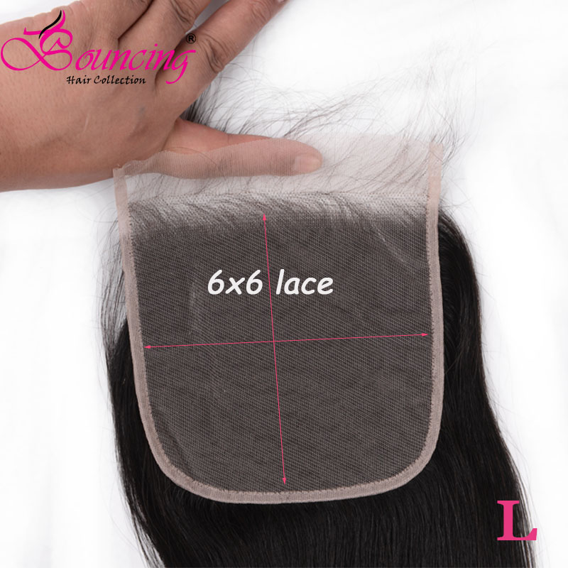Bouncing hair Straight 6*6 lace closure with baby hair natural color 100% human low ratio remy hair for woman 8 26 inches