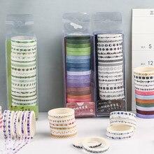 Fita adesiva multi-cores para scrapbooking, 20 unidades/pacote, álbum de recortes, fitas adesivas de papel de papelaria japonês, etiqueta, adesivo