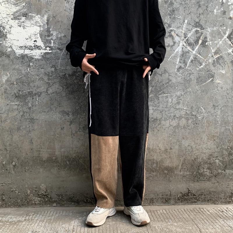 Focal20 Streetwear Patchwork Corduroy Women Cargo Pants Elastic Waist Wide Leg Female Trousers Casual Loose Autumn Lady Bottoms