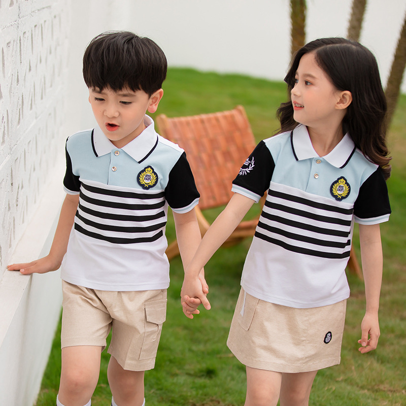 School Uniform Kindergarten Suit Summer British Style Primary And Middle School Students Stripes Men And Women Children Sports B