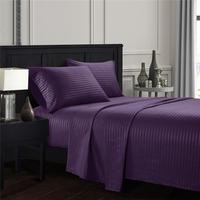 Purple Plain satin striped Bedding Sheet Set Bed Linens Flat Sheet+Fitted Sheet+Pillowcase Twin/Full/Queen/ King Comfortable