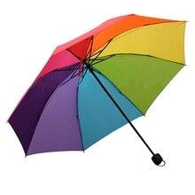 Children Umbrella Parasol Rainbow Folding Rain-Protection Colorful Kids