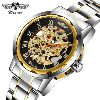 цена на WINNER Golden Watches Men Skeleton Mechanical Watch Stainless Steel Strap Top Brand Luxury T-WINNER Classic Wristwatch 17 COLORs