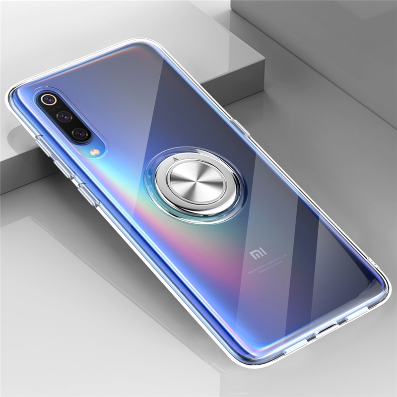 Transparent <font><b>Soft</b></font> <font><b>Silicone</b></font> <font><b>Case</b></font> <font><b>For</b></font> <font><b>Xiaomi</b></font> <font><b>Mi</b></font> <font><b>9</b></font> <font><b>SE</b></font> 8 Mi9 Mi8 Car Ring Stand Holder <font><b>Shockproof</b></font> Cover Redmi Note 7 Pro <font><b>Case</b></font> Note7 image