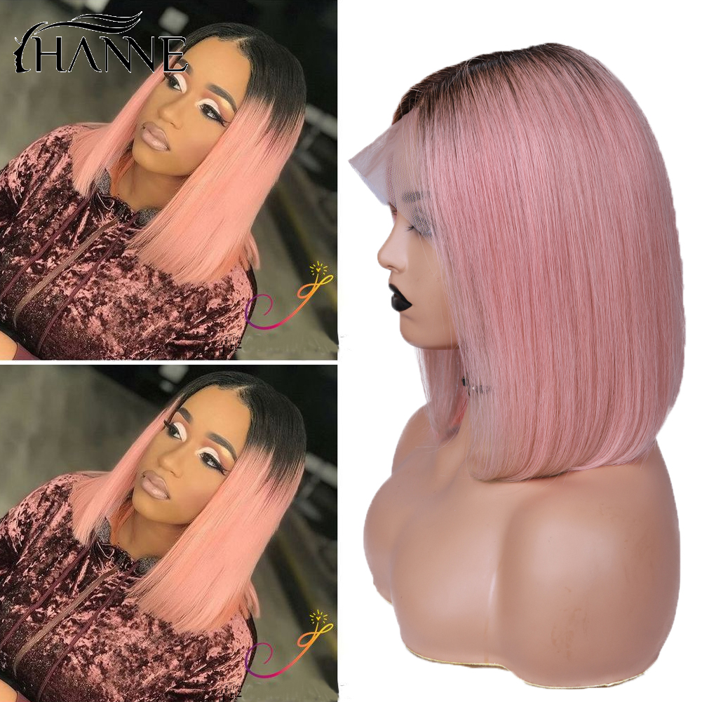 Lace Front Perruque Cheveux Humain Wigs For Black Women Short Ombre Pink Straight Lace Virgin Human Hair Bob Hair Wig PrePlucked