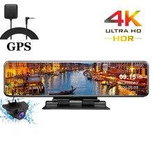 HGDO 4K 3840 × 2160 araba dvrı GPS parça pano Video kaydedici Sony IMX415 dikiz aynası kamera otomatik kayıt konsol dvr