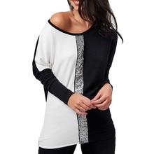 Moda lantejoulas blusas 2019 mulheres camisas casuais o pescoço manga longa retalhos solto t tops e blusas primavera outono roupas