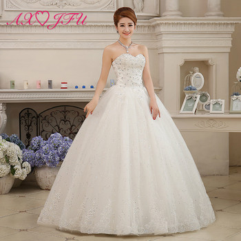 AXJFU princess white flower lace wedding dress vintage party strapless sleeveless beading crystal bride white wedding dress