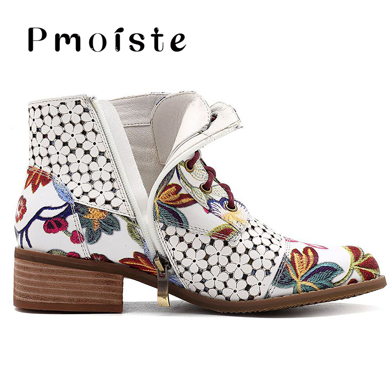 Image 4 - 2019 New Ankle boots women Fashion Beautiful Flower pattern boot female Rubber boots for women Wear resistant Zipper shoes-in Ankle Boots from Shoes