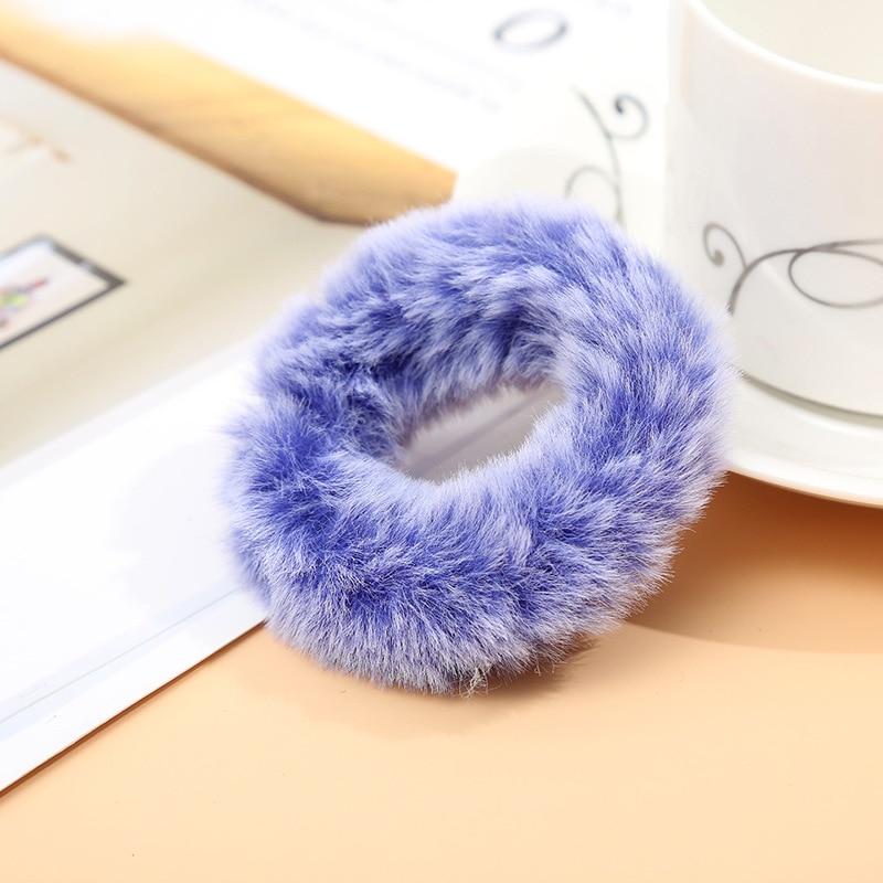 Милые эластичные резинки для волос для девочек, искусственный мех, резиновое эластичное кольцо, веревка, пушистый галстук, аксессуары для волос, меховые резинки, повязка на голову - Цвет: B4