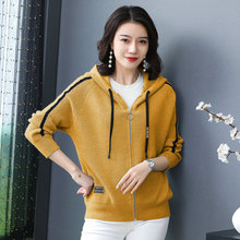 Women Casual Hooded Jackets Autumn Spring Short Hood Coat Female Yellow Red Gray Black Green Wool Blend Knitting Outerwear 2019