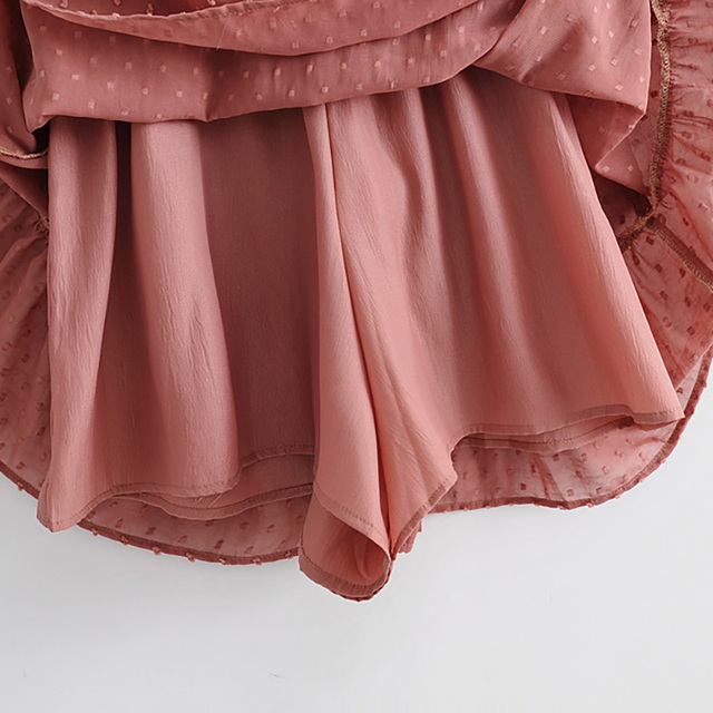 2020 Summer Women Ruffles Lace Chiffon Dress Boho Mini Beach Dress Three Quarter Sleeve Ladies Party Dresses Vestido 6
