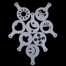 Творческие приятный кофе, бариста Трафареты шаблон формы для посыпания тряпкой спрей арт Кофе Инструменты Аксессуары для кофе 16 шт
