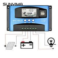 SUNYIMA 60A 30A MPPT Intelligent Solar Controller 12V 24V Auto Focus Solar Panel Battery Cells Regulator Charger for Home Use PV