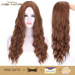 A Wig Hair Long-Wigs Middle-Part Water-Wave Heat-Resistant Brown Nature Women for Cosplay